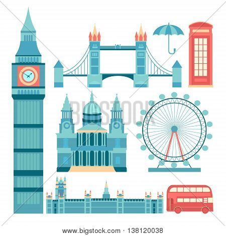 Set of vector icons London. Sights of Britain. Set of elements United Kingdom. Vector illustration on the theme of England. Collection of flat icons. Template for design.