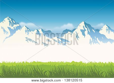 snowcapped mountains with grass - vector background