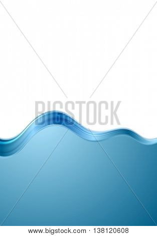 Abstract blue white wavy background. Contrast flyer smooth wave vector design