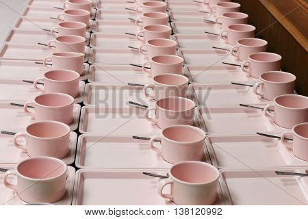 rows lots of cup coffee in preparation Food Break :Ideal use for background: