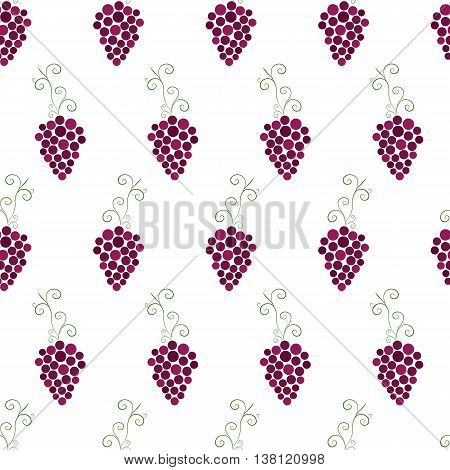 Bunches of grapes seamless pattern. Purple grapes. Fruit pattern. Ripe berries on a white background. The concept of winemaking. Wine template. Vector illustration.
