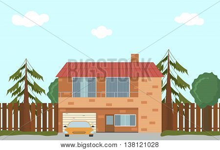 Cottage in nature. Large house with garage. Flat style. House in the woods. Two-storey brick cottage. Vector illustration.