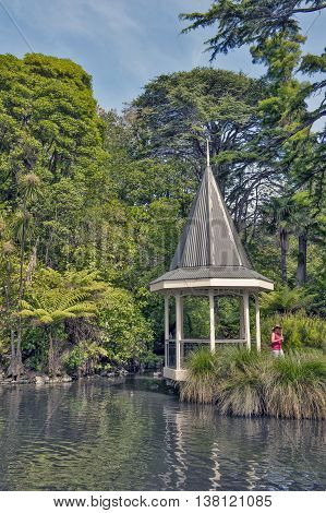 Wellington New Zealand - March 2 2016: The duck pond at Wellington Botanic Garden the largest public park in town