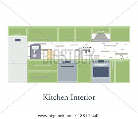 Interior of the kitchen. Flat style. White background. Kitchen design furniture and accessories. Coffee machine electric kettle and blender. The pot on the stove. Dishwasher. Vector illustration.