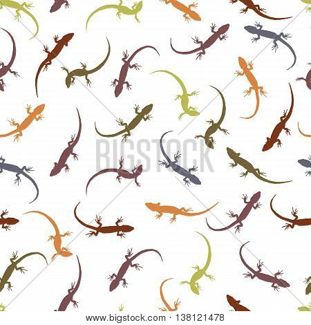 Seamless pattern with lizards. Colorful silhouettes of reptiles on a light background. The outlines of the different lizards. Vector illustration.