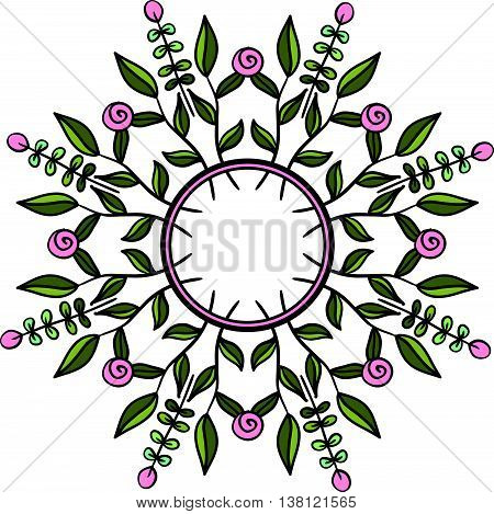 Ethno style round frame. Tribal floral wreath