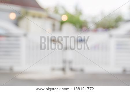 Blurred abstract photo of retro entrance door in country style restaurant.