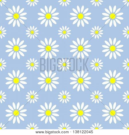 Abstract summer camomile seamless pattern. Vector flowers graphic pattern design
