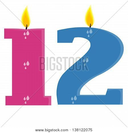 Fully vector set of stylized birthday candles (12) pink and blue