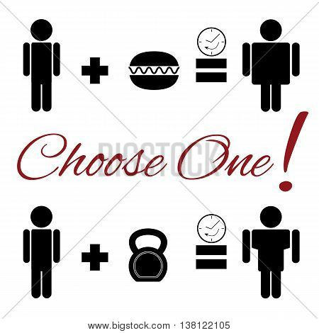 Fully vector lifestyle choice pictogram. Choice between junk food and healty lifestyle.