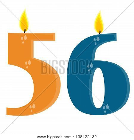 Fully vector set of stylized birthday candles (56) orange and blue