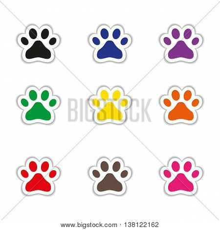 Fully vector Set of cat footprints stickers