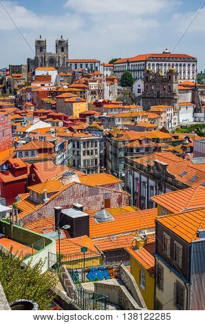 Porto Portugal - June 24 2016. View of downtown of Porto city with Se cathedral and Igreja de Sao Lourenco Grilos in background. Portugal.