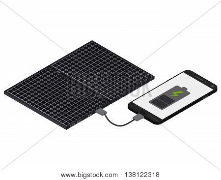 Black Solar panel. Flat isometric. Modern alternative energy. The phone is charging from the solar panel. Ecological energy. Vector illustration.