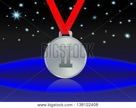 abstract star background and a silver medal for second place