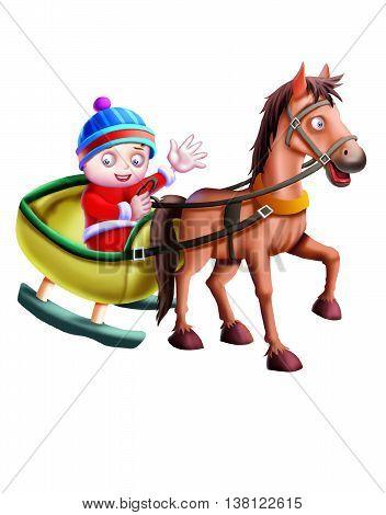 Horse Cart/ Horse cart isolated on white Background