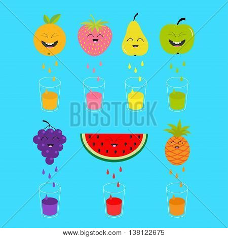 Fresh juice and glasses. Apple strawberry pear orange grape watermelon pineaple fruit with faces. Smiling cute cartoon character set. Natural product Juicing drops. Flat design Vector