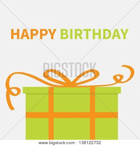 Gift box with orange ribbon and bow. Present giftbox. Happy Birthday greeting card. White background. Isolated. Flat design. Vector illustration