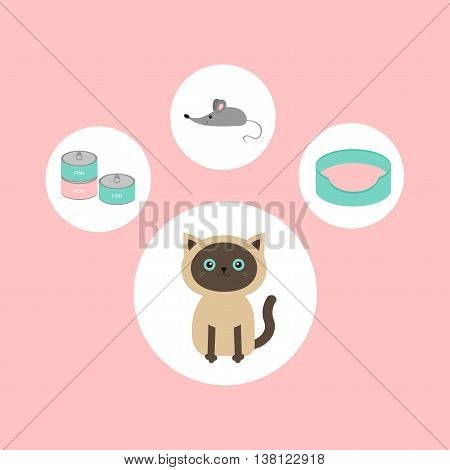 Siamese cat round circle icon set in shape of paw print. Cat stuff object. Mouse toy bed food tin can. Flat design. Cute cartoon character. Happy sitting kitten. Pink background. Isolated. Vector