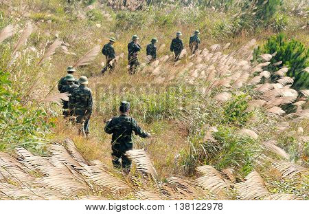 LANG SON, Vietnam, June 12, 2016 Border combatant groups Lang Son, Vietnam. Border patrol, mountainous territory, national borders China