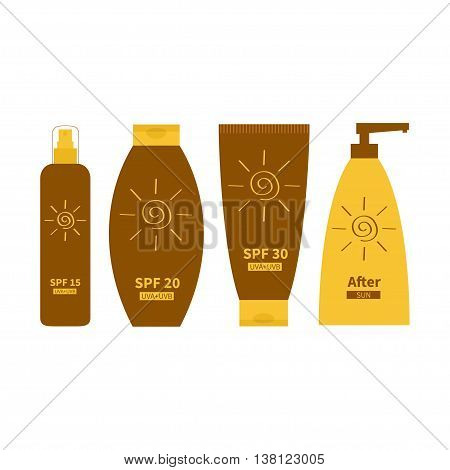 Tube of sunscreen suntan oil cream. After sun lotion. Bottle set. Solar defence. Spiral sun sign symbol icon. SPF 15 20 30 sun protection factor. UVA UVB sunscreen. White background. Flat Vector