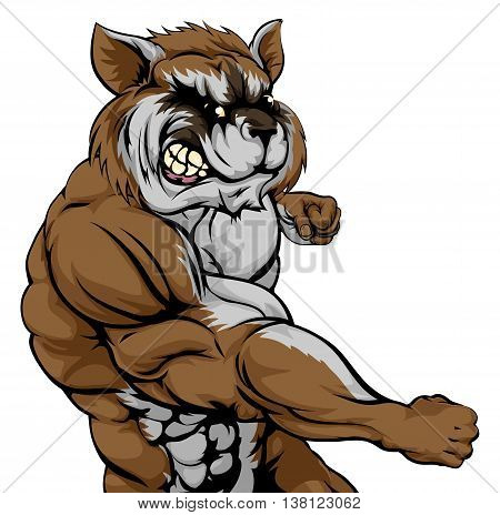 Punching Raccoon Mascot