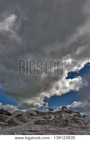 Whakarewarewa Geyser Under Cloudy Sky At Te Puia Thermal Park In Geothermal Valley Of Rotorua, New Z