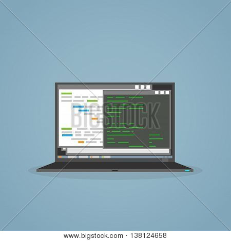 Software programming and development on notebook screen monitor. Programmer laptop woth software application for codding.