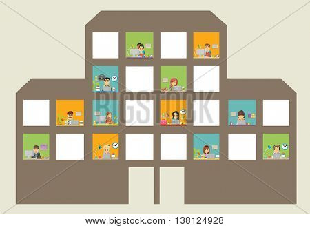 Widows with cartoon business people working. Building with office workspace.
