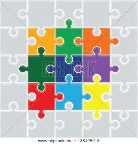 a colourful square jigsaw pieces background image