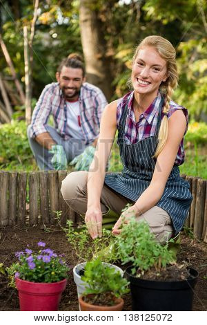 Portrait of happy young gardener with male colleague planting at garden