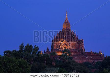 a temples in Bagan Myanmar at night