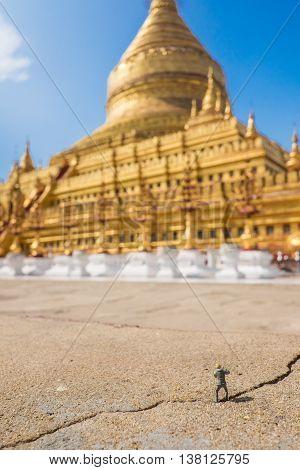 a Photographer in Shwezigon Pagoda at Myanmar