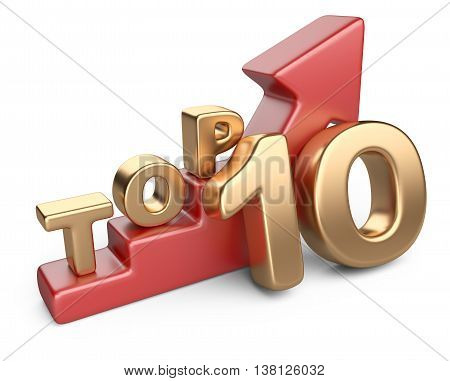 Golden sign top 10 and a red ladder. 3D image isolated on white bacground.