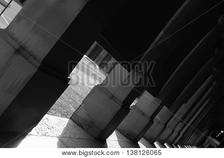 columns in black and white with curtains