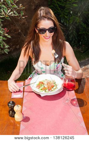 Beautiful Lady Having Lunch And Wine On Terrace