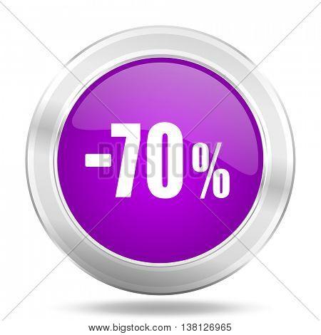 70 percent sale retail round glossy pink silver metallic icon, modern design web element