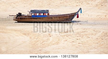 Boat on the sand background in outdoor