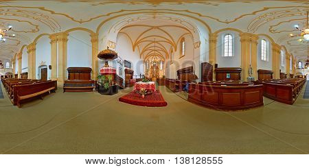 TÂRGU MUREȘ, ROMANIA - September 12: 360 panorama of the Reformed Fortress Church's interior shot on September 12th, 2015 in Târgu Mureș, Transylvania, Romania.