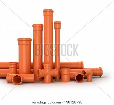 Plastic pipe on white background. Water pipes. 3d illustration.