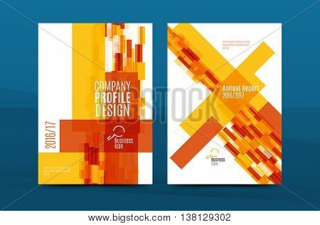Orange annual report A4 cover. Brochure template layout, magazine, flyer or booklet. Vector