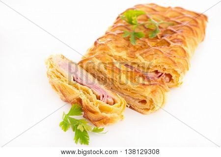 puff pastry with cream,cheese and ham