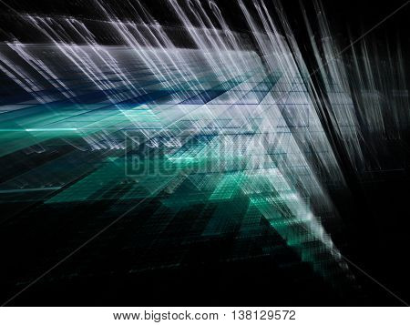 Abstract background element. Fractal graphics series. Three-dimensional composition of intersecting layers. Information technology concept. Blue and black colors.
