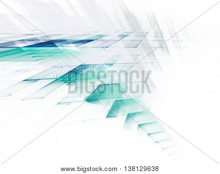 Abstract background element. Fractal graphics series. Three-dimensional composition of intersecting layers. Information technology concept. Blue and white colors.