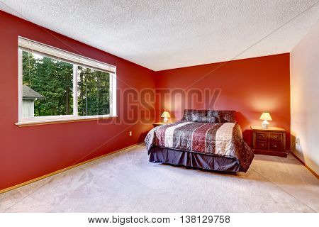 Red Bedroom With Beige Carpet Floor And Bright Colorful Bedding.