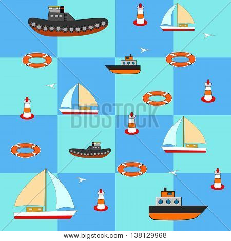 vector illustration of sea subjects with ships yachts round buoy seagulls. Fabric or wallpaper.