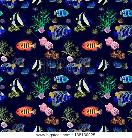 Exotic fishes, sea corals and water baubles. Neon lighting sea background. Repeating watercolor