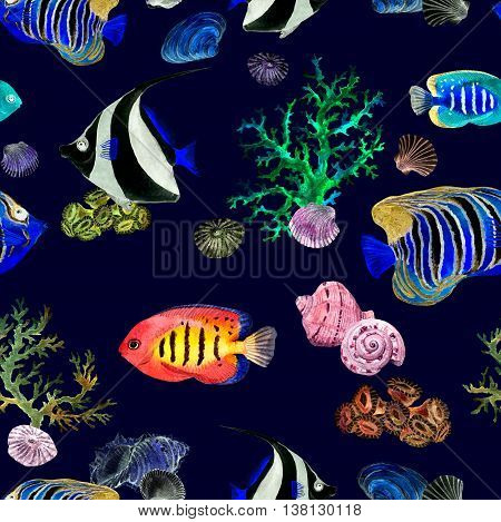 Exotic fishes, sea corals and water baubles. Neon light - sea pattern. Seamless watercolor