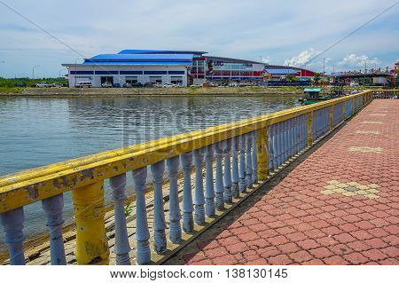 Labuan,Malaysia-July 11,2016:Skywalk to Labuan UTC at Labuan Market Sentral,Labuan island,Malaysia.Urban Transformation Centre (UTC) launched by Prime Minister of Malaysia on 6th February 2016.