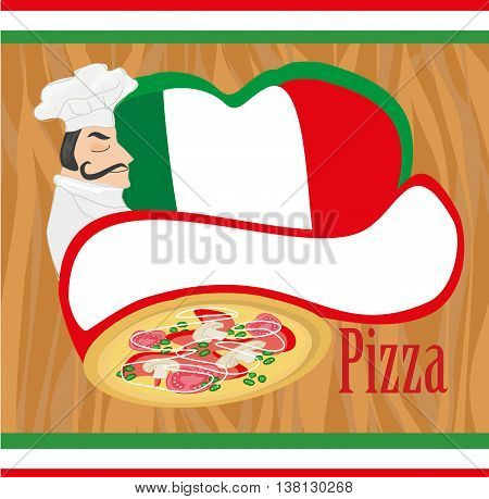 chef with pizza - Abstract card with space for Your text , vector illustration